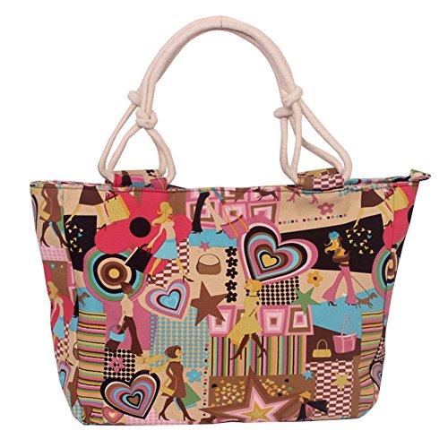 Fortuning's JDS Tela ragazze moderne borsetta tracolla stampa shopping stile tote spiaggia