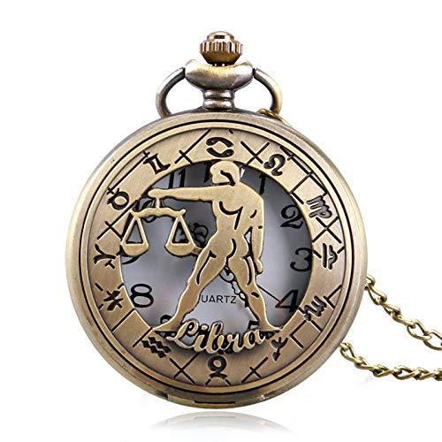 HANXIAO Taschenuhren Retro Taschenuhr Zodiac Constellation Stilvolle Waage Modern Steampunk Hollow Halskette Männer Frauen Hellrosa