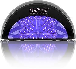 NailStar Professionelle LED Nagellampe mit Timer für Shellac + Gel Nägel | Schwarz
