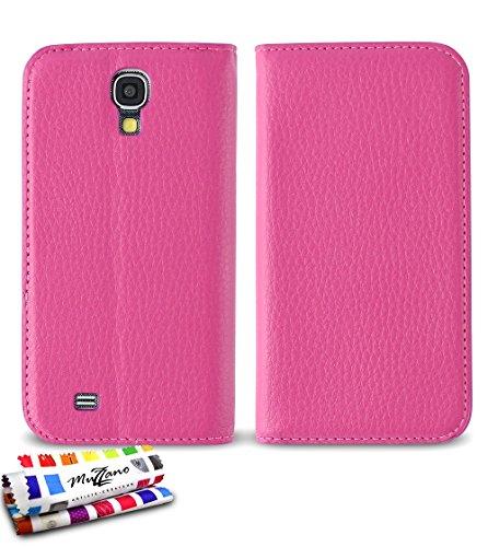 MUZZANO Original Custodia a Libro, per Samsung Galaxy S4 Advance, Colore: Rosa Acceso