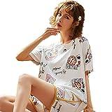 Las mujeres del verano pijamas Set 100% algodón blanco de manga corta camiseta y pantalones cortos ropa de dormir Homewear dormir camisón con la diversión diseño de moda, regalos para niñas,XXL