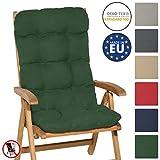 Beautissu Hochlehner Auflage Flair HL 120x50x8cm Sitzkissen Rückenkissen Sitzpolster Schaumflockenfüllung div. Farben (120x50x8cm, Dunkelgrün)