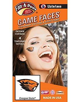 Oregon State University  OSU  Beavers – Waterless Peel & Stick Temporary Spirit Tattoos – 4-Piece – Orange Beaver Head Logo