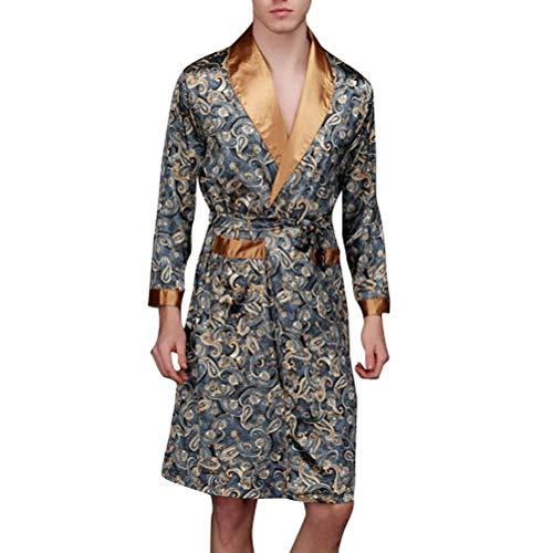 Kimono De Los Hombres De Primavera Y Verano De Moda Cómodo Bata De Baño De Satén De Baño De Los Hombres De Seda Bata Larga Robe Estilo De Dormir (Color : Dunkelblau, Size : 2XL)
