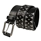 Fioretto Mens Womens Unisex Studded Leather Belt Italian Cowhide Leather Black Studded Rivets Belt For Jeans