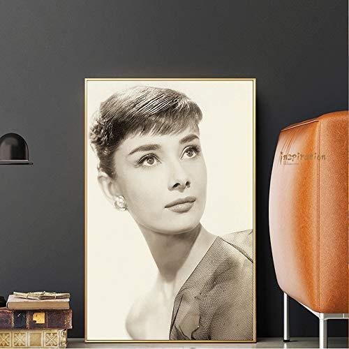 RTCKF Retro Filmstar Portrait Poster Malerei Audrey Hepburn Druck Malerei Wandbild Kunst Wohnzimmer Dekoration A5 60x90 cm