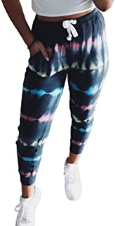 S-Fly Women's Waist Elastic Casual Tie Sweatpant Dye Print Jogging Pants Trousers