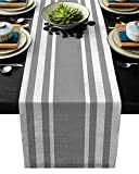 Womenfoucus Burlap Table Runner, Simple Stripes Gray and White Farmhouse Table Runner for Coffee Table, Dining Table Cover Dresser Entryway Spring Table Runner Party Decorations 18'x72'