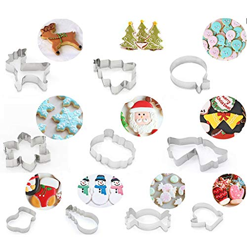 Copercn 10Pcs Christmas Stainless Steel Cake Cookie Cookie Cutter Mold DIY Baking Tool Ideal For House Outdoor Christmas Bar Family Party Decor