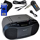 Sony Portable CD Player Boombox with AM/FM Radio & Cassette Tape Player + Wireless Bluetooth Receiver + Aux Cable for Smartphones, MP3 Players & HeroFiber Ultra Gentle Cleaning Cloth