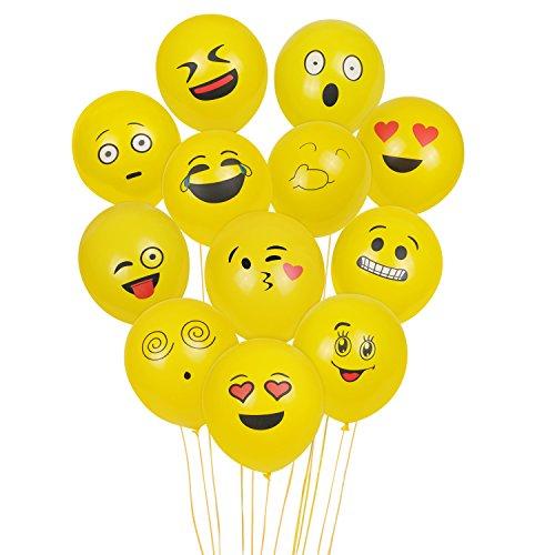 Aookey 100 Piezas de Color Partido Globos de Fiesta para la Fiesta de Cumpleaños de la Boda - 12 inch de Látex Globos (100 Emoji Globos)