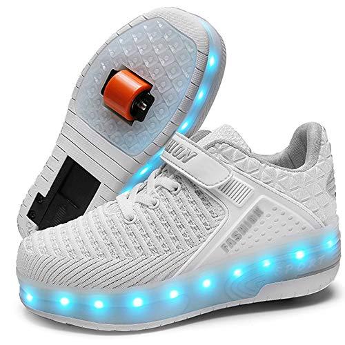 XOMAYI1 LED Chaussures à roulettes garçon Fille Respirant Patins à roulettes Double Roues Retractable Basket a Roulette Detachable Creative Gifts Unisexe Enfants