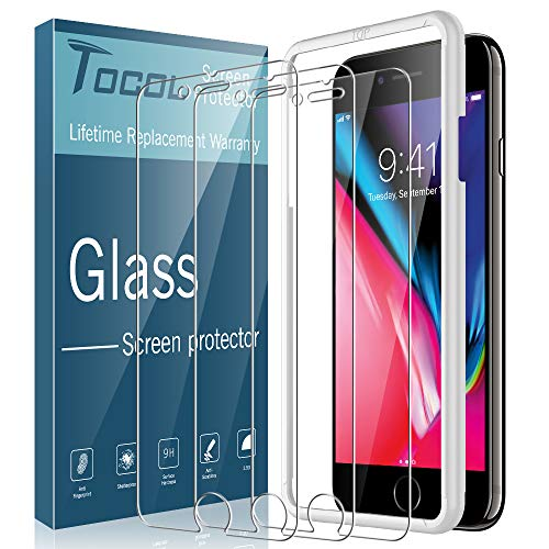 TOCOL 3 Pack Compatible with iPhone 7 Plus and iPhone 8 Plus Screen Protector Tempered Glass HD Clarity Touch Accurate 9H Hardness with Easy Installation Tray