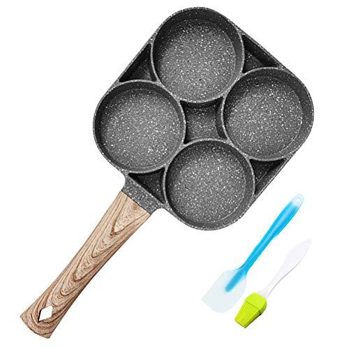Eierbratpfanne, Pfanne Antihaft-Aluminiumpfanne mit Silikonspatel Und Ölbürste, Eierpfanne 4 Löchern, für Spiegelei, Burger, Frühstückspfannkuchenherstellung, mit Verbrühschutzgriff