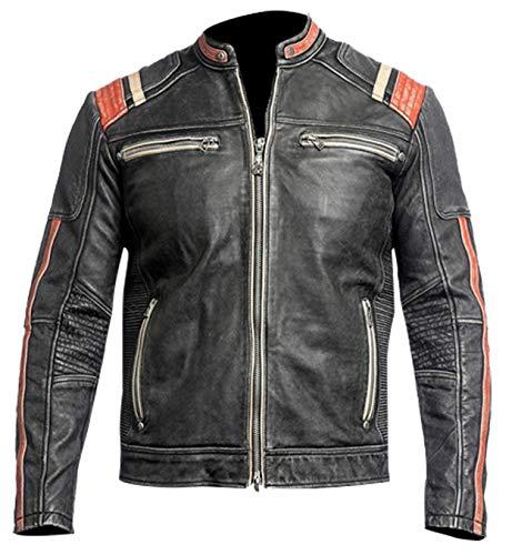 Chaqueta de cuero vintage Cafe Racer para hombre, estilo retro, para motocicleta, para hombre, para café, corredor, chaqueta de motocicleta, chaqueta de piel envejecida para hombres