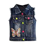 Mud Kingdom Big Girls Denim Vest Jacket Sparkly Butterfly Sequin Size 10-12 Dark Blue