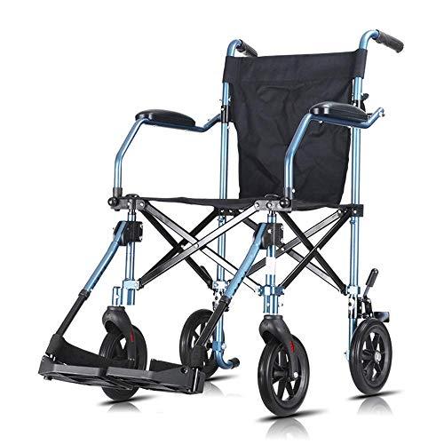 KANJJ-YU Silla de rehabilitación médica, Silla de Ruedas, sillas de Ruedas 8.8kg Ultra Silla de Transporte cómodo de Peso Ligero balanceo de la Pierna Apoyabrazos Resto 110Kg de Carga del cojinete 40