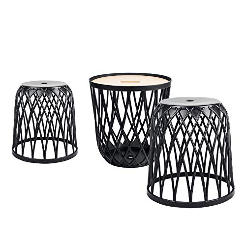 PAFEN Möbelset Uniqubo Möbel Gartenmöbel anthrazit Plastik Korb Tisch Hocker 3-TLG Behälter
