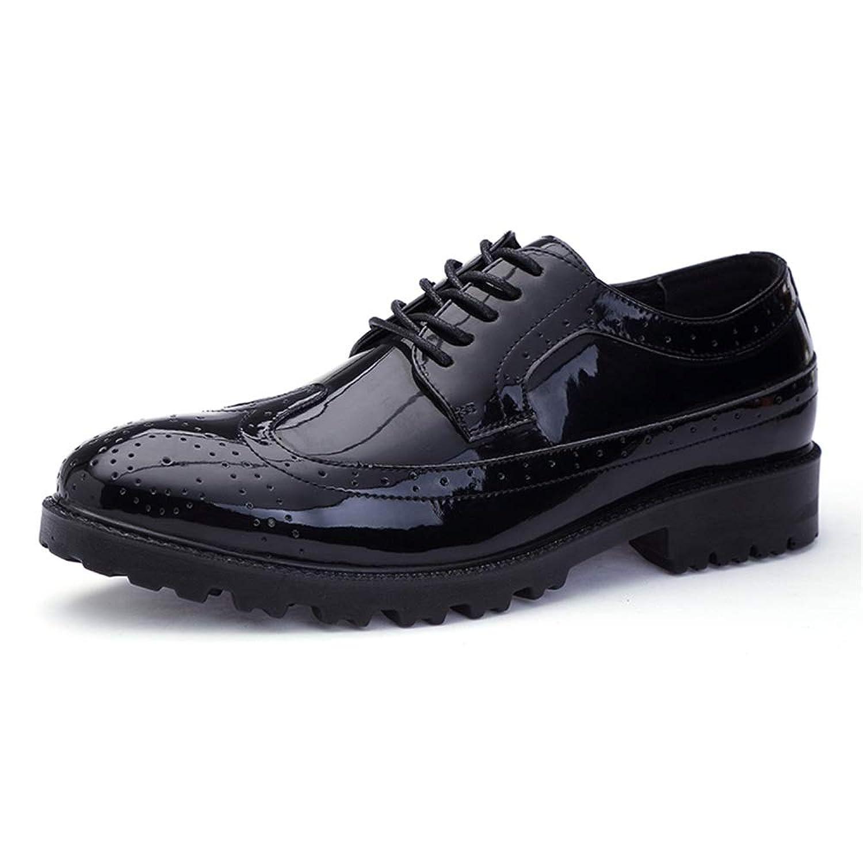 Tufanyu メンズファッションオックスフォードカジュアルコンフォートロートップブローグレースアップパテントレザービッグサイズフォーマルシューズ 丈夫 (Color : Black Gray, サイズ : 28.5 CM)