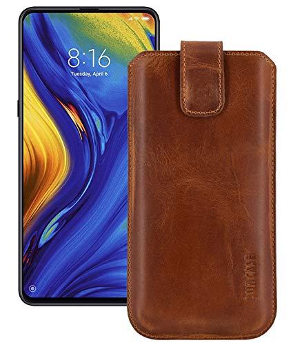 Suncase ECHT lederen tas lederen etui *Slim-Edition* voor Xiaomi Mi Mix 3 (met terugtrekfunctie en magneetsluiting), antiek cognac