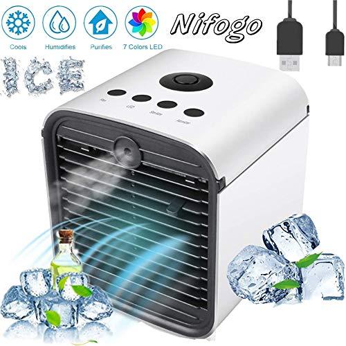 Nifogo Air Cooler Luftkühler Mobile Klimageräte Klimaanlage, 3 in 1 Portable Luftbefeuchter und Luftreiniger, Klima Ventilator, Leakproof (Weiß)