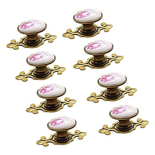 S.D.Maket Schönes Leben* 5 x Türknauf Schrankgriffe Türknöpfe Schrankknöpfe Möbelknopf Elegant Möbelknöpfe Set Möbelgriff Keramik Vintage Style (Design 2)