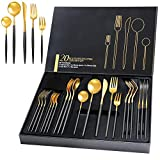 Gold Silverware Set, Black Handle Matte Gold Flatware Cutlery Set Service for 4, Satin Finish 20 Piece Stainless Steel Utensils Set for Home and Restaurant