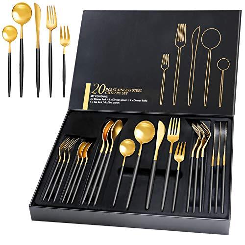 HOBO 20 Teilige Besteckset mit Geschenkbox, Hohe Qualität Schwarz Golden Besteckset aus Edelstahl Service für 4 Personen, Einschließlich Messer/Gabel/Löffel/Teelöffel/Teegabel