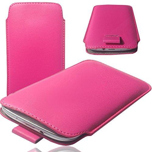 MOELECTRONIX 1A PINK Slim Cover Hülle Schutz Hülle Pull UP Etui Smartphone Tasche passend für TP-LINK Neffos C7