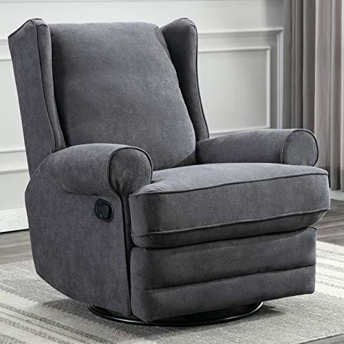 ANJ Swivel Rocker Recliner Chair - Reclining Chair Manual, Single Modern Sofa Home Theater Seating for Living Room (Smoke Grey)