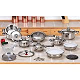 New 12 Element 28pc T304 Stainless Steel Waterless Cookware Set Pots & Pans Fast Shipping