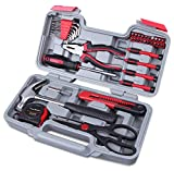 Cartman Red 39Piece Tool Set General Household Hand Tool Kit with Plastic Toolbox Storage Case Cutting Plier