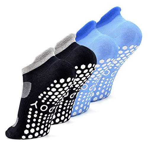 Busy Socks Trampoline Socks Gymnastics for Adult Women,Pilates Low Cut Mesh Breathable Gripping Socks,2 Pairs,Black/Blue