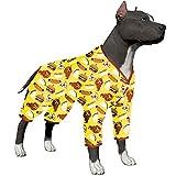 LovinPet Large Dog Pajamas/Post Surgery Shirt Dog/UV Protection/Food Truck Foods Yellow Hamburger Prints/Lightweight Pullover Pet Pajamas/Full Coverage Dog Pjs Big Dog Onesie Jumpsuit
