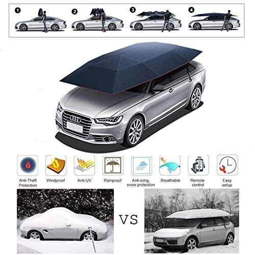 S SMAUTOP Semi-automatic Car Tent Cover Folded Movable Car Umbrella Tent Cover Car Awning Tent 2.2m*4.2m With Anti-UV,Water-Proof,Proof Snow,Storm,Hail(With demo video)