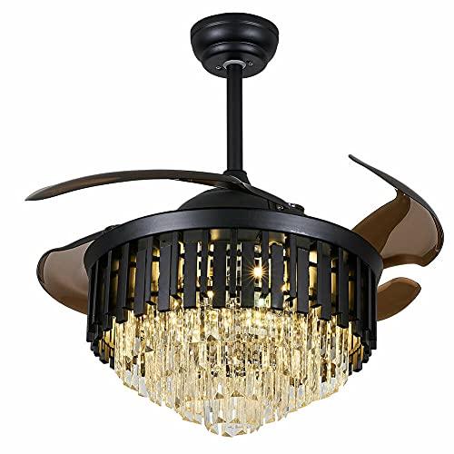 Lámpara de ventilador de techo de cristal de 100 cm, aspas de ventilador retráctiles + mando a distancia LED