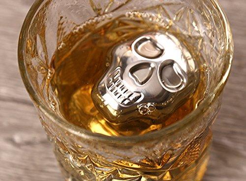 Ecentaur Whisky Steine Edelstahl Eiswürfel Wiederverwendbare Whiskysteine Kühlsteine Schädel 6 Stück - 3