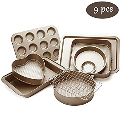 Esonmus 9pcs Nonstick Carbon Steel Bakeware Set Includes Bread Pan, Baking Sheet, Cookie Sheet, Springform Shaped Round Cake Pan, Cake Muffin Mold Cup And Cooling Rack,Highest-Quality DIY Baking Tools