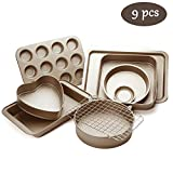Esonmus 9pcs Nonstick Carbon Steel Bakeware Set Includes Bread Pan, Baking Sheet, Cookie Sheet,...