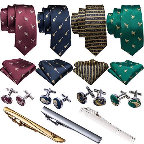 Barry.Wang Cute Ties Dinosaur Pattern Tie Bar and Handkerchief Cufflink Necktie Set