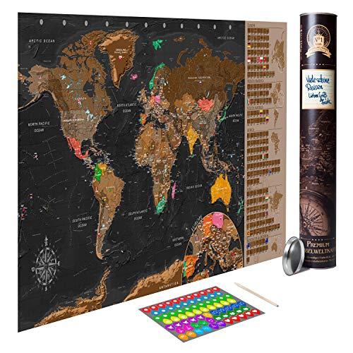 decomonkey Rubbelweltkarte AKTUELLE Weltkarte mit neuester Änderung Rubbel Weltkarte zum Rubbeln Rubbelkarte Geschenk Antik Poster Karte Landkarte 100x50 cm Viele Extras Laminiert