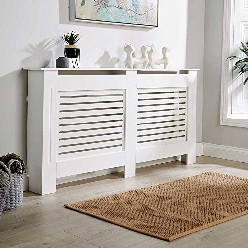 Home Source Radiator Cover Wooden MDF Wall Cabinet Shelf Slatted Grill, White, Extra Large