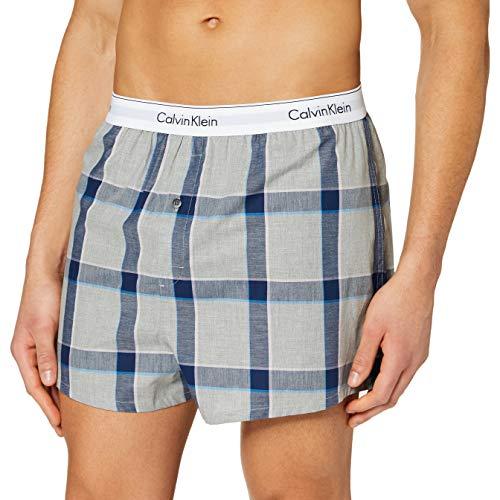 Calvin Klein Boxer Slim 2PK Ropa Interior, Nuevo Azul Marino/Tinton Plaid, M para Hombre