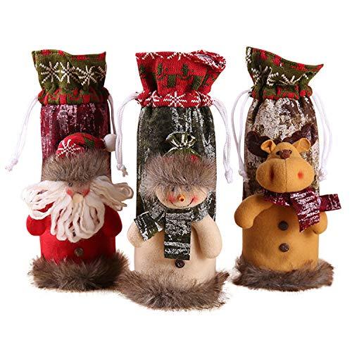 LAEMILIA 3Pcs Weihnachten Weinflasche Abdeckung Süß Stoff Festlich Motiv Weihnachtsdeko Tischdeko Weinbox Weinbag Weihnachtensgeschenke Weinflaschenabdeckung