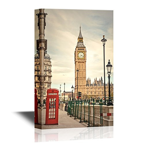 wall26 - Watercolor Style Canvas Wall Art - London Landmarks - Gallery Wrap Modern Home Art | Ready to Hang - 16x24 inches
