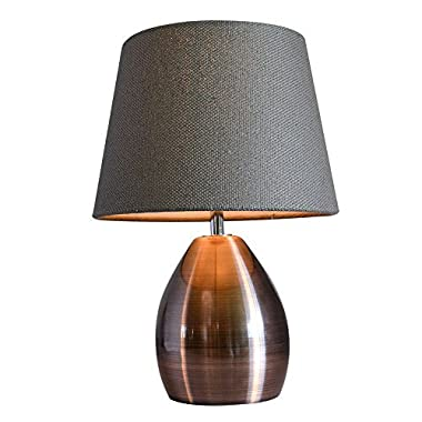 Monkey Sun Small Table Lamps for Bed Room Yellow Fabric Shade Bronze Metal Base Simple Retro Style 11.8  (Grey)