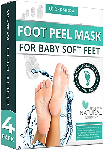 Foot Peel Mask - 4 Pack - For Cracked Heels, Dead Skin & Calluses - Make Your Feet Baby Soft & Get a Smooth Skin, Removes & Repairs Rough Heels, Dry Toe Skin - Exfoliating Peeling Natural Treatment