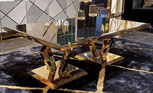 Casa Padrino Mesa de Centro de Lujo Oro 120 x 60 x A. 43 cm - Mesa de salón Moderna con Tapa de Cristal - Muebles de salón - Colección de Lujo