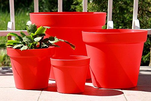 Wamat Blumenkübel Blumentopf Pflanzkübel Pflanztopf 4 Größen / 8 Farben S - XXLNeu!! (Durchmesser:15 cm, rot)