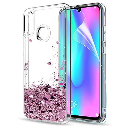 LeYi Funda Huawei P Smart 2019 / Honor 10 Lite Silicona Purpurina Carcasa con HD Protectores de Pantalla, Transparente Cristal Bumper Telefono Fundas Case Cover para Movil P Smart 2019 ZX ZX Oro Rosa